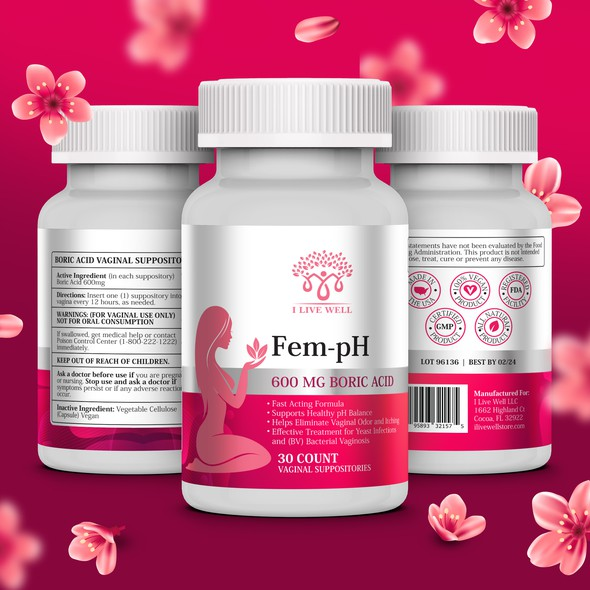 Female design with the title 'Feminine eye-catching label for woman's product'
