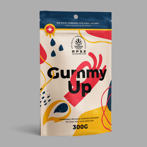 Gummy packaging with the title 'Positively Potent Gummies Package'
