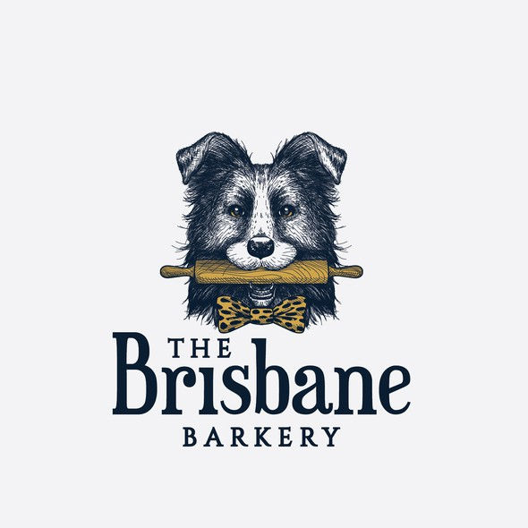 Rolling pin logo with the title 'Friendly Border collie holding a rolling pin for The Brisbane Barkery'