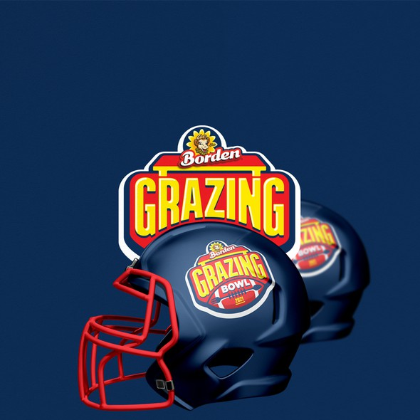 American football logo with the title 'Americanl footbal inspired logo for famous cheese brand'