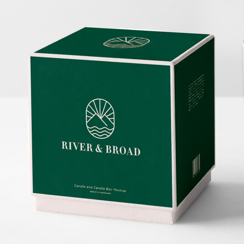 Candle design with the title 'River & Broad'