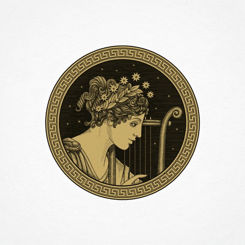 Greek logo with the title 'Hand-drawn illustrative logo'