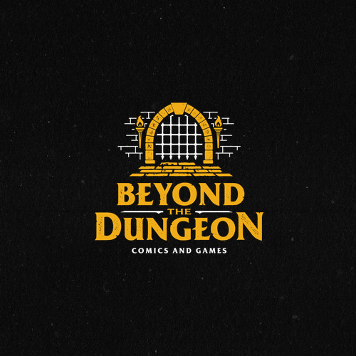 Brick design with the title 'Beyond the dungeon'
