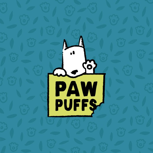 Pet food logo with the title 'Hand-drawn Dog Treat Logo'