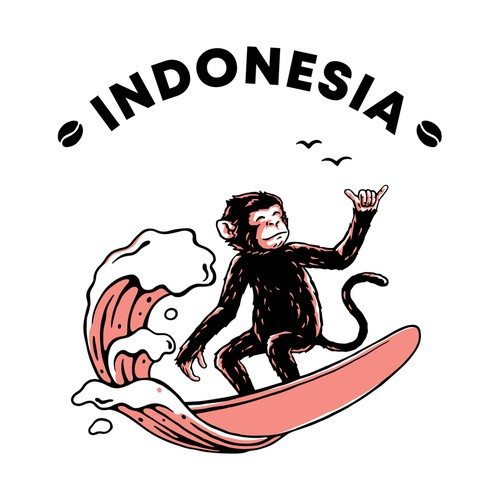 Animal illustration with the title 'Surfing Monkey'