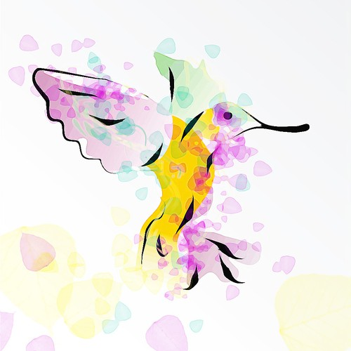 Brush illustration with the title 'Tropical bird illustration for fashion t-shirt'