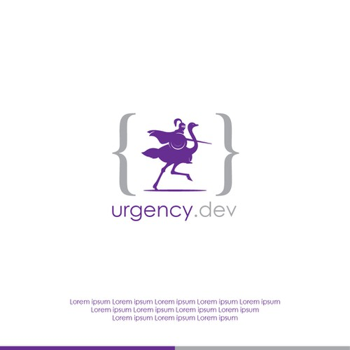 "Guardian design with the title 'Concept logo design for ""urgency.dev""'"