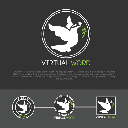 Virtual logo with the title 'Virtual Word logo design'