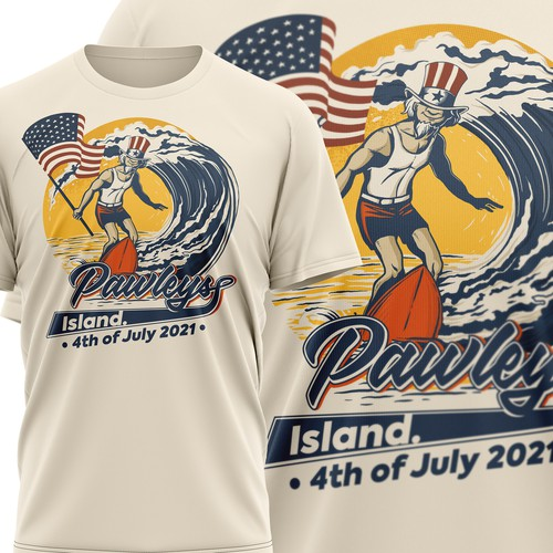 Surfboard design with the title 'Pawleys Island 4th of July T-shirt'