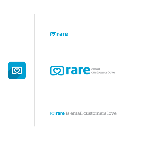 Pretzel logo with the title 'Logo design for Rare - Email Customers Love '