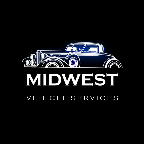 Classic car logo with the title 'MIDWEST VEHICLE SERVICES'