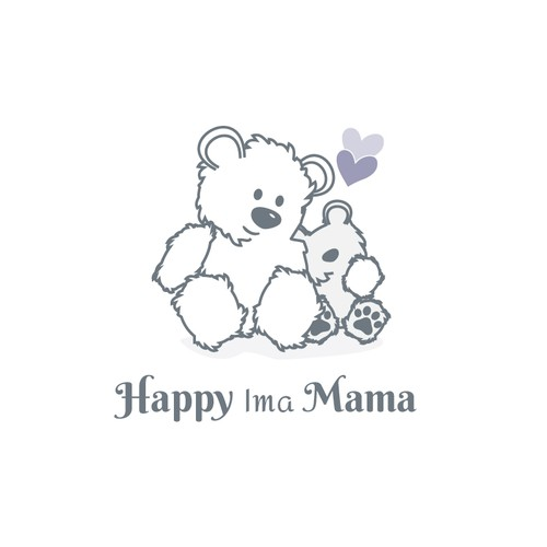 Baby and heart logo with the title 'Baby and Momma Bear Logo'