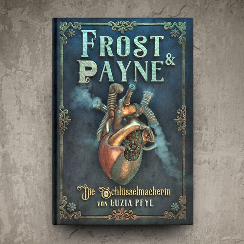 Mechanical design with the title 'Frost & Payne Book Cover'