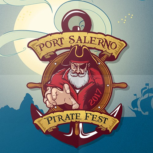Pirate design with the title 'Logo for annual pirate festival.'