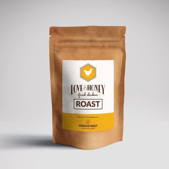 Shop packaging with the title 'Love & Honey Coffee Label'
