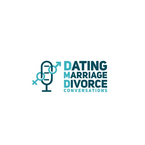 Divorce logo with the title 'Podcast Logo for DMD (Dating, Marriage, Divorce)'