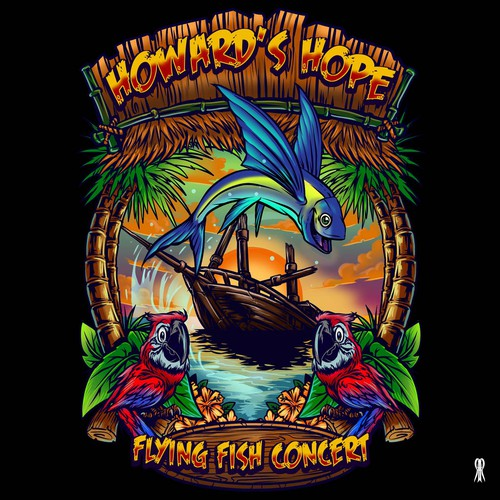 Surf design with the title 'The Howard's Hope 1st Annual Flying Fish Concert'