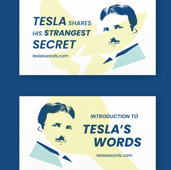 Tesla design with the title 'Tesla's Words   YouTube Thumbnails'