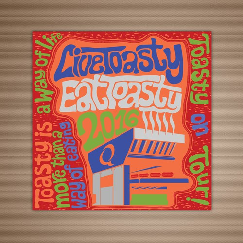 Bright artwork with the title 'Quiznos Music Poster Calendar'