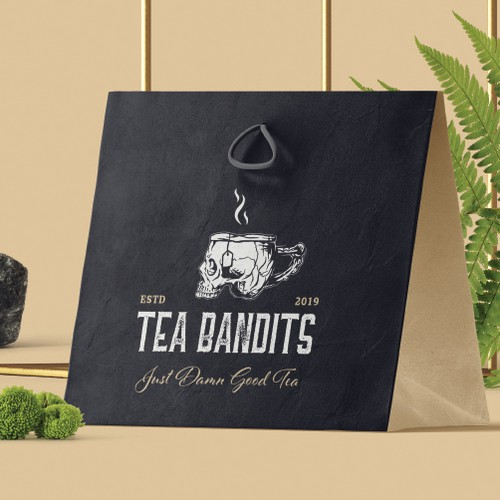 Bag brand with the title 'Bold vintage illustration for Tea Bandits'
