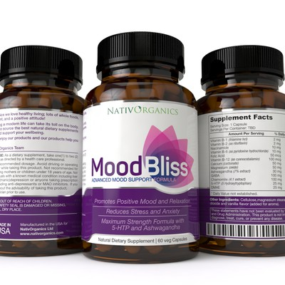 MoodBliss Supplement Label Design