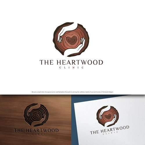 Hand design with the title 'The Heartwood Clinic'