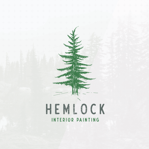 Forest design with the title 'Handdrawn hemlock tree logo'