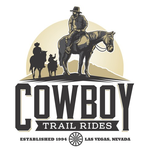 Horse logo with the title 'Logo for a rebranding of Cowboy Trail Rides'