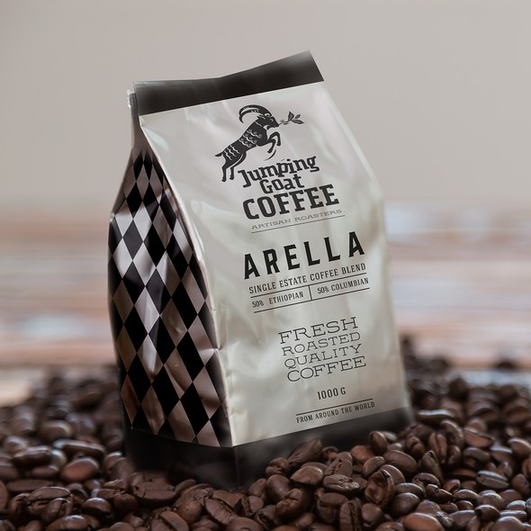 Handmade packaging with the title 'Label coffee Arella Jumping goat coffee brend'