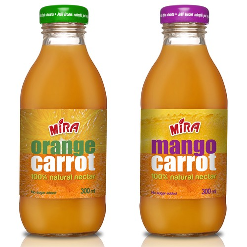 Fresh packaging with the title 'Orange Carrot and Orange Mango  Brand Extensions for Mira'