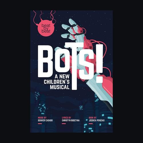 Futuristic design with the title 'Bots'