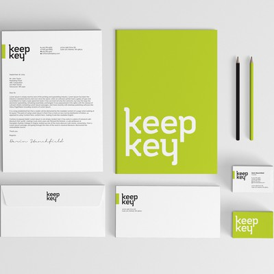 Clean stationery design for keep key