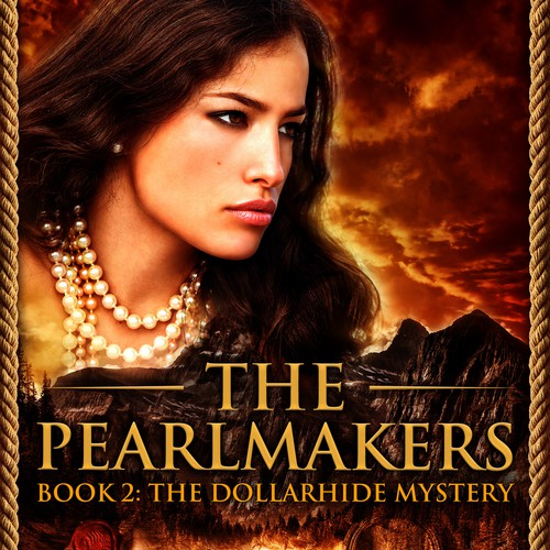 Golden book cover with the title 'Ebook cover design - The pearlmakers series '