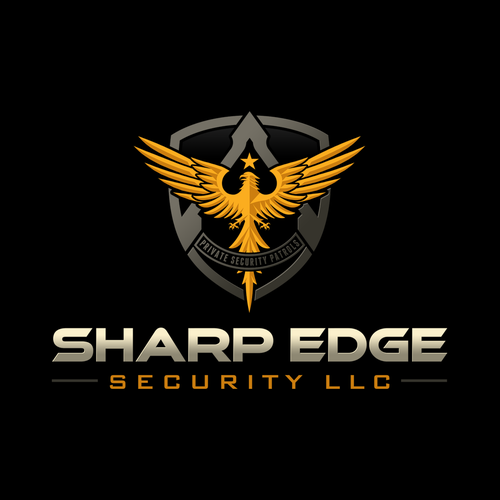 Shield logo with the title 'Logo design for Sharp Edge Security LLC'