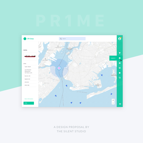 Map website with the title 'Screendesign for asset monitoring platform Pr1me'