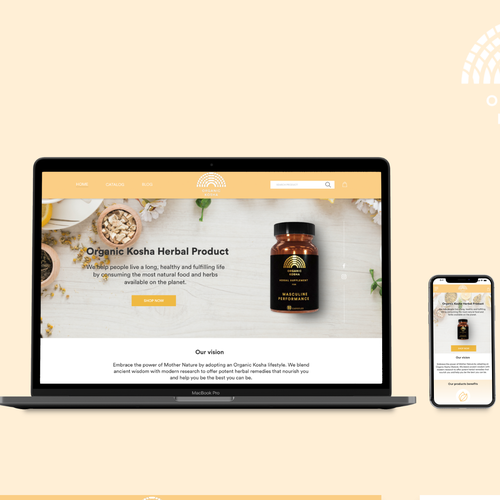 Mobile responsive website with the title 'Home page for Organic Health Supplements'