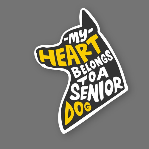Puppy design with the title 'MY HEART BELONGS TO A SENIOR DOG'