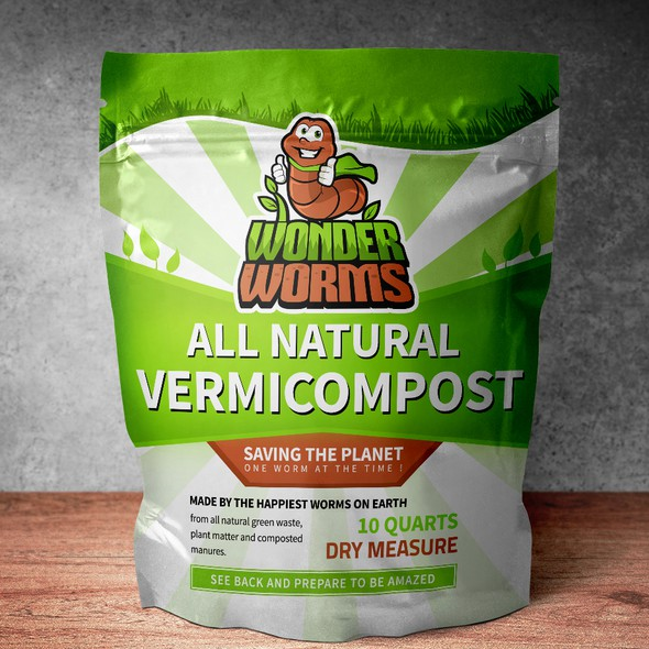 Funny packaging with the title 'Package Design for Wonder Worms'