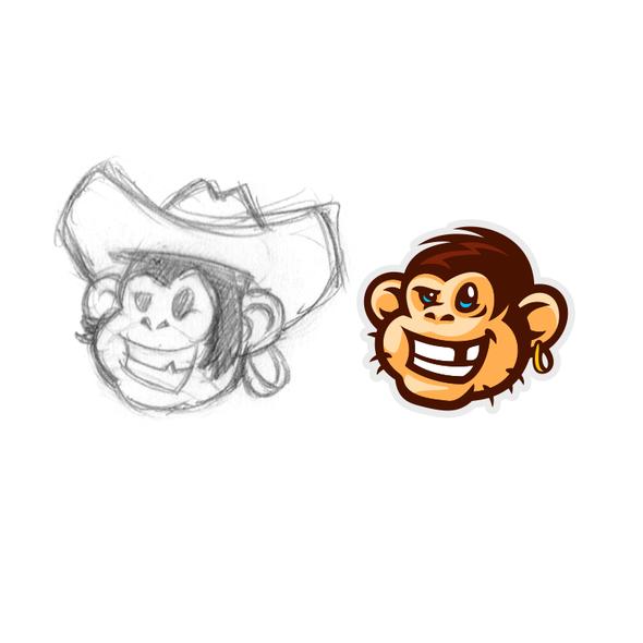 Bandit logo with the title 'Rebel monkey'