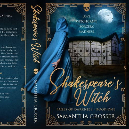 Magic book cover with the title 'Shakespeare's Witch '