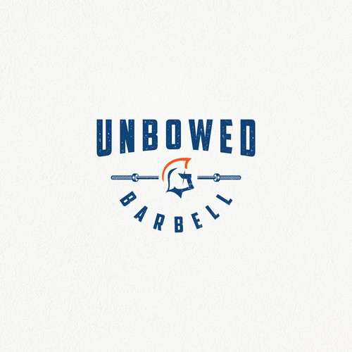 Spartan helmet design with the title 'Unbowed Barbell'