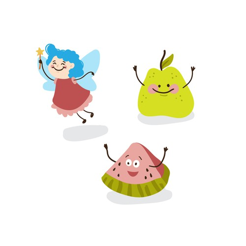 Character illustration with the title 'Funny characters for kids products'