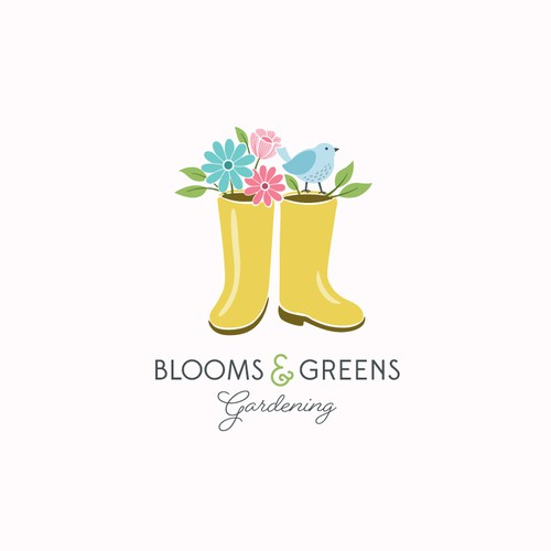Gardening logo with the title 'Feminine logo for a small gardening company'