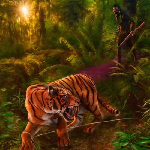 Jungle illustration with the title 'Tiger and hunter'