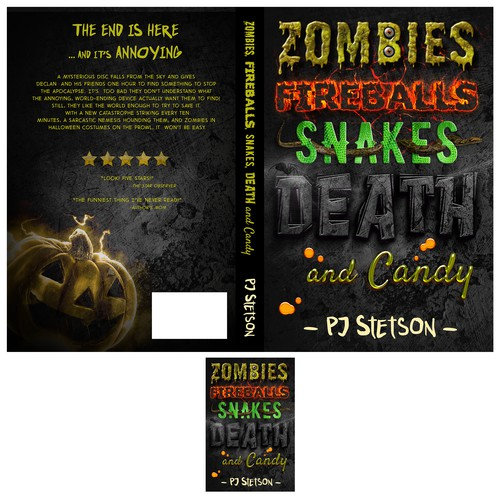Comedy book cover with the title 'Zombies, fireballs, snakes, death and candy'