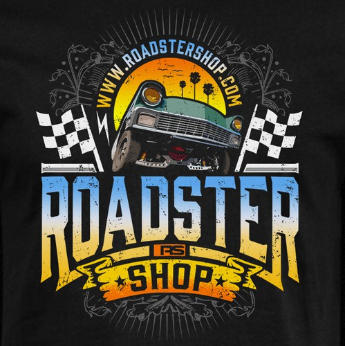 Beach t-shirt with the title 'RoadSter Shop'