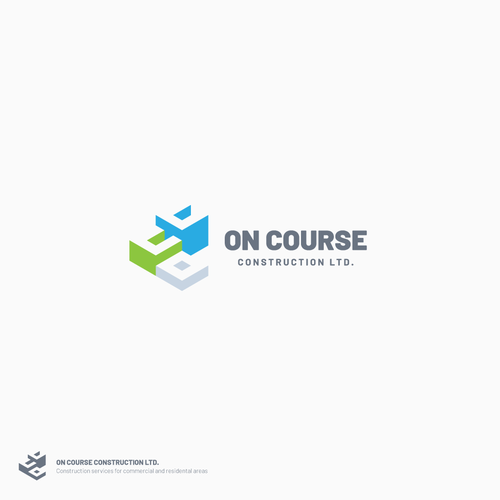Isometric logo with the title 'Logo for On Course Construction Ltd.'