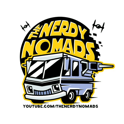 Van design with the title 'Logo for nerdy blogers'