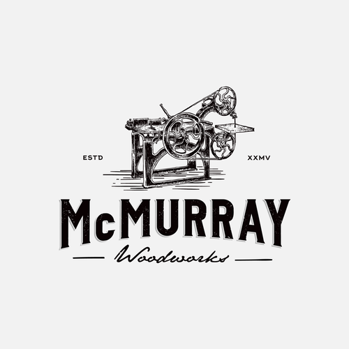 Woodworking design with the title 'McMURRAY WOODWORKS'