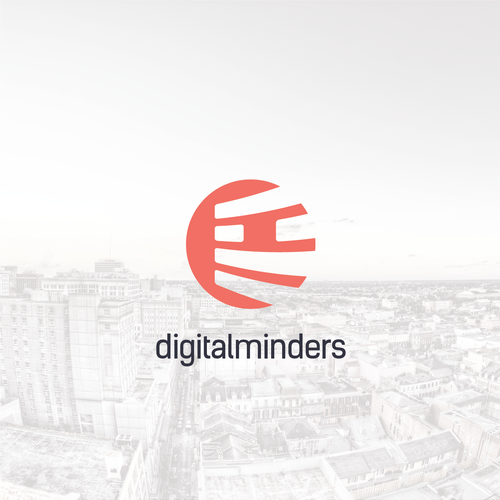 Orange and black logo with the title 'Flat logo concept for digital agency'
